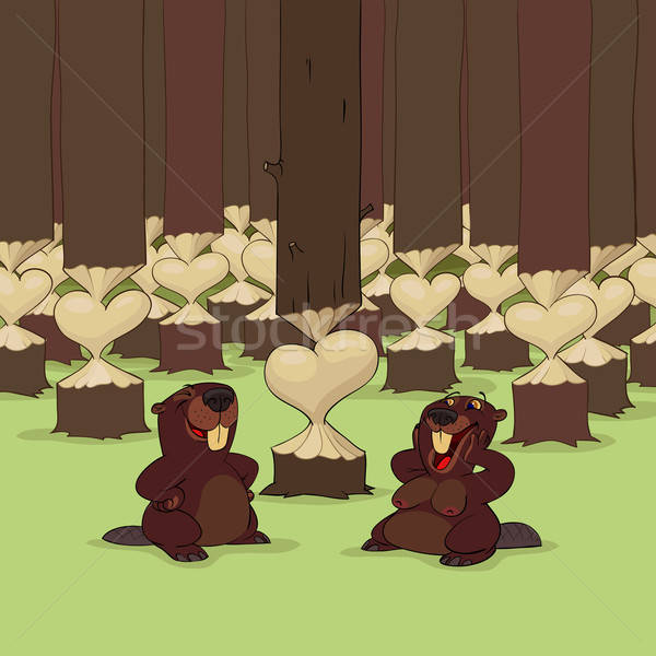 Stock photo: Valentine's Day of beavers