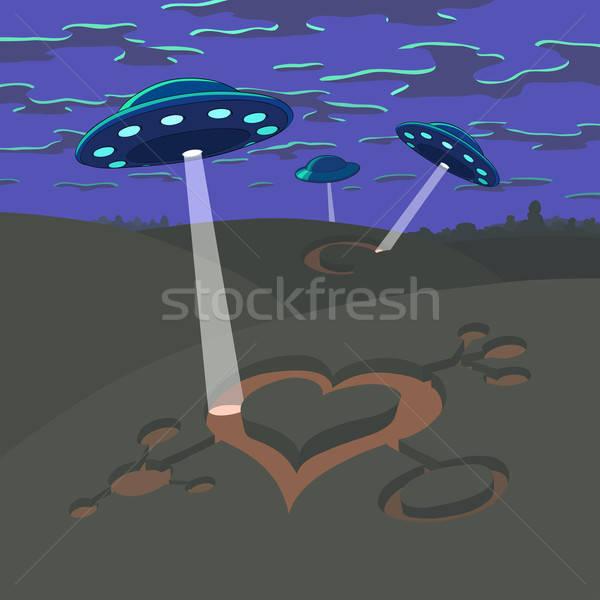 Valentijnsdag ufo weinig voertuigen trekken hart Stockfoto © animagistr