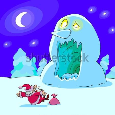 Orribile pupazzo di neve grande babbo natale caricatura cielo Foto d'archivio © animagistr