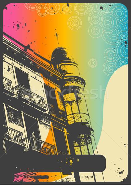 rainbow-colored retro urban background Stock photo © Anja_Kaiser