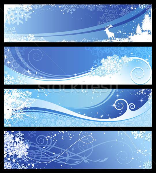 Inverno set blu fiocchi di neve floreale Foto d'archivio © Anja_Kaiser