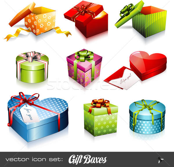 Stock photo: vector set: gift boxes