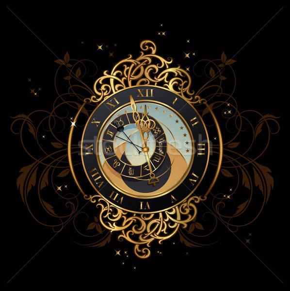 Mezzanotte vintage astronomico clock segno stelle Foto d'archivio © Anja_Kaiser