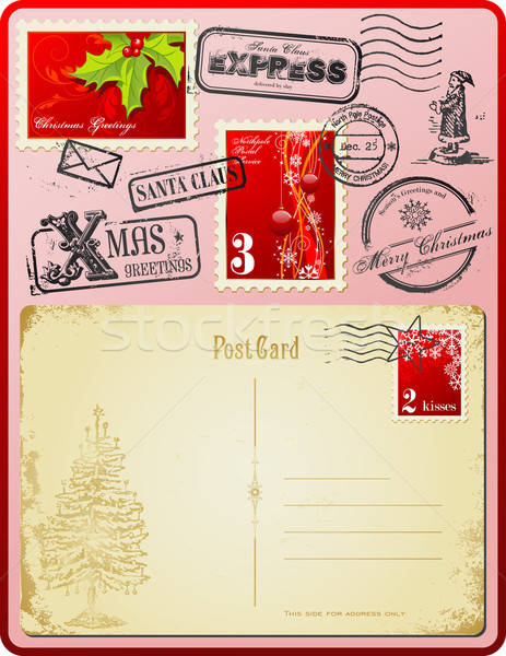 Noël timbres vintage carte postale design Photo stock © Anja_Kaiser
