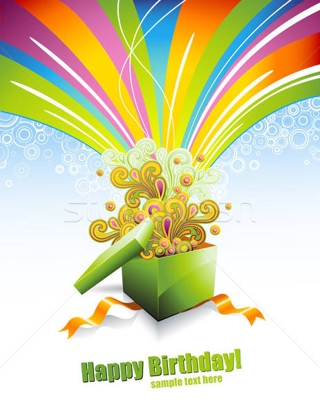 С Днем Рождения рождения настоящее радуга подарок цветами Сток-фото © Anja_Kaiser