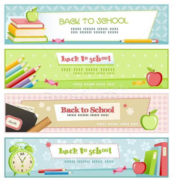 Vissza az iskolába szett négy könyvek iskola ceruza Stock fotó © Anja_Kaiser