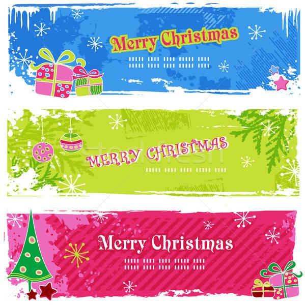 Noël bannières trois horizontal Photo stock © Anja_Kaiser