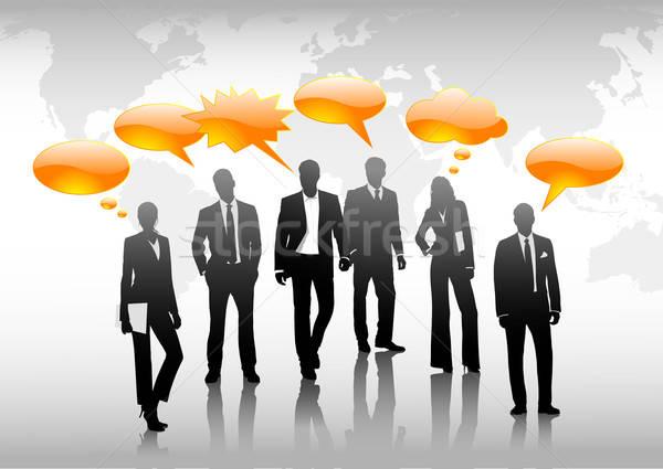 Mondial communauté gens d'affaires parler affaires carte Photo stock © Anja_Kaiser