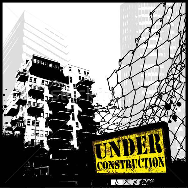 Construction illustration cityscape clôture Photo stock © Anja_Kaiser