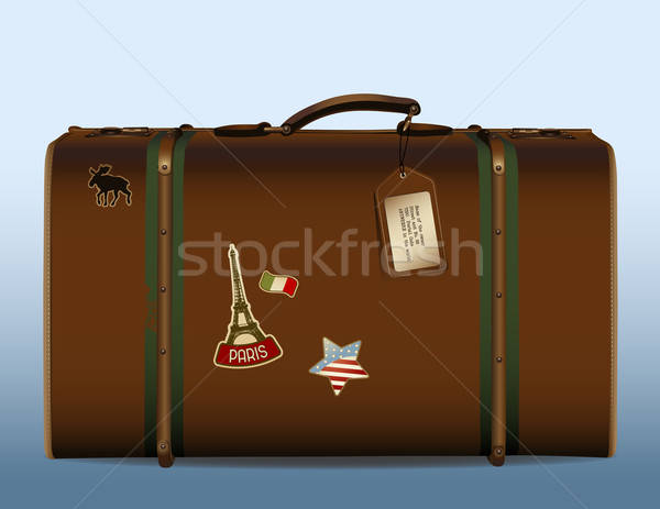 вокруг Мир реалистичный иллюстрация Vintage чемодан Сток-фото © Anja_Kaiser
