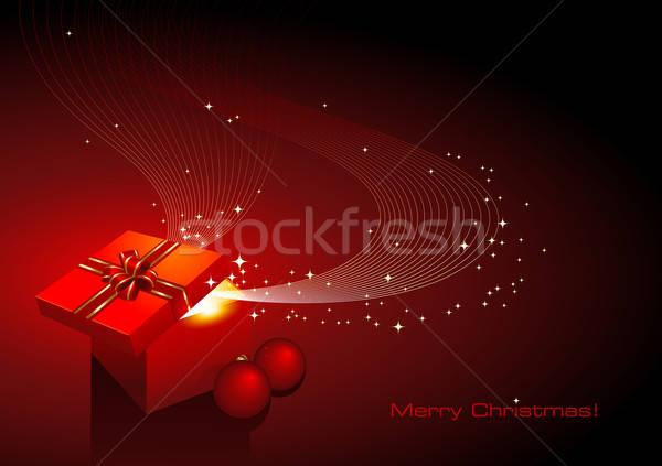 Magia scatola regalo Natale biglietto d'auguri regalo luce Foto d'archivio © Anja_Kaiser
