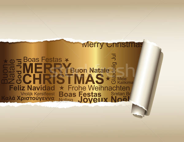 Stock photo: ripped paper displaying holiday greetings