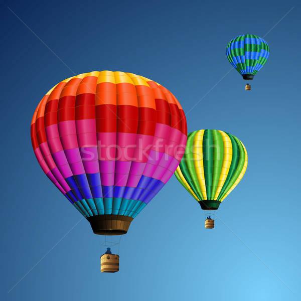 Chaud air ballons illustration profonde ciel bleu Photo stock © Anja_Kaiser