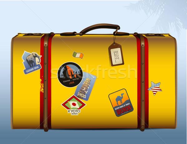 Vintage чемодан желтый путешествия Африка Сток-фото © Anja_Kaiser