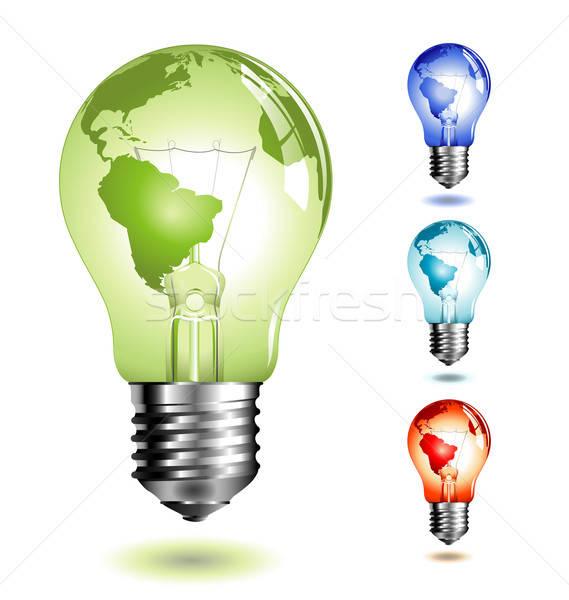Ampoule quatre différent couleur énergie foudre Photo stock © Anja_Kaiser