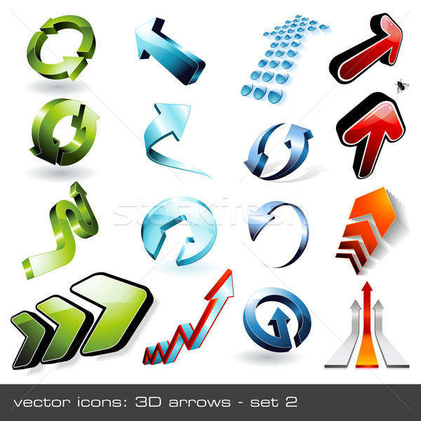 Stock photo: three-dimensional arrows - set 2