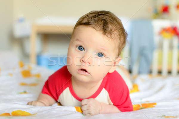 Aranyos komoly baba hazugságok pocak faiskola Stock fotó © anmalkov