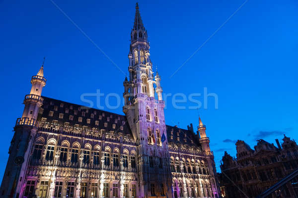 City hall illuminated during light show in Brussels, Belgium Stock photo © anmalkov