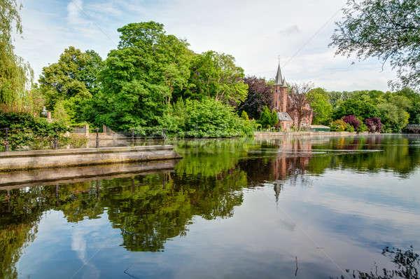 Castelo parque lago céu Foto stock © anmalkov