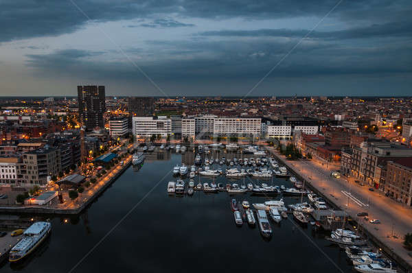 Aerial view to the harbor of Antwerp from the roof Stock photo © anmalkov