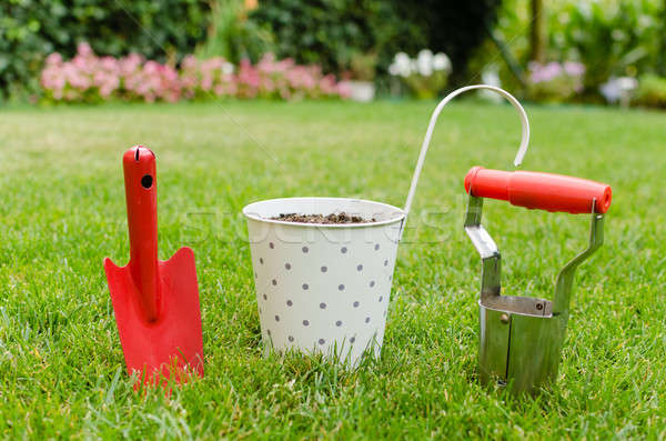 Flowerpot and garden hand tools Stock photo © anmalkov