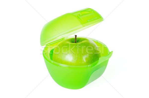 Zöld alma ebéd doboz friss ízletes Stock fotó © anmalkov