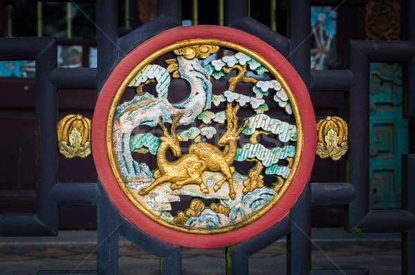 Chino tradicional madera puerta arte viaje Foto stock © anmalkov