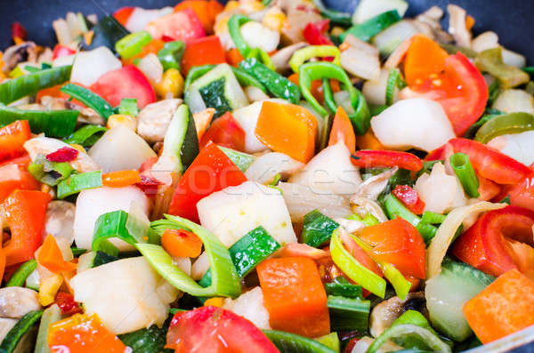 Sliced vegetables in the pan Stock photo © anmalkov