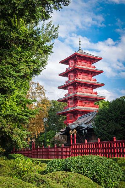 Kínai piros torony park Brüsszel Belgium Stock fotó © anmalkov