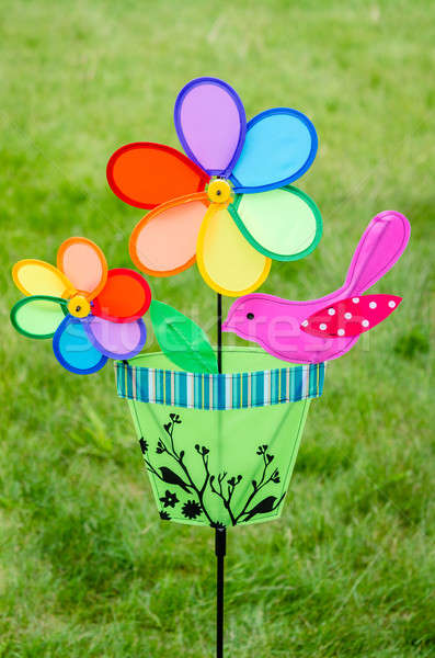 Colorful double pinwheel with bird on green grass Stock photo © anmalkov