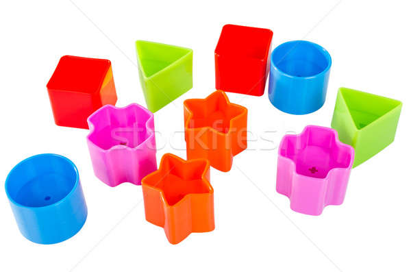 Stock photo: Various coloured blocks for shape sorter toy isolated