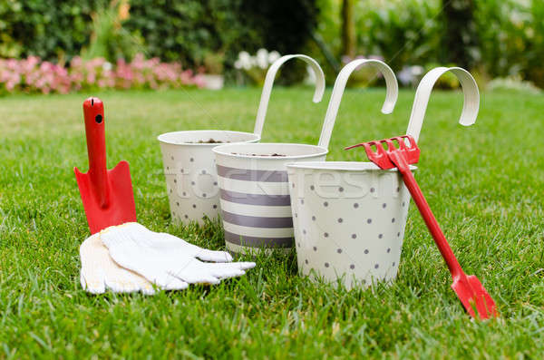 Flowerpots and garden hand tools Stock photo © anmalkov
