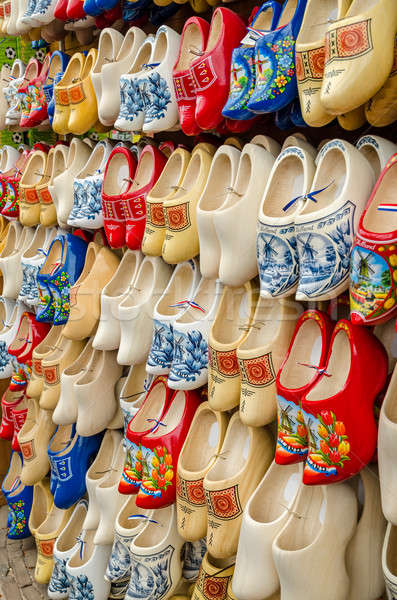 Traditional Dutch clogs wooden shoes in souvenir store Amsterdam Stock photo © anmalkov