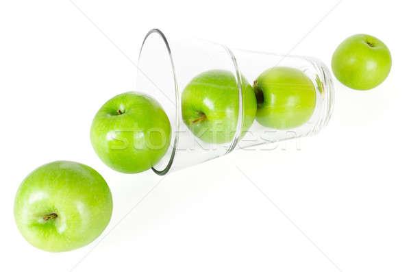 Fresco verde maçãs vidro isolado branco Foto stock © anmalkov
