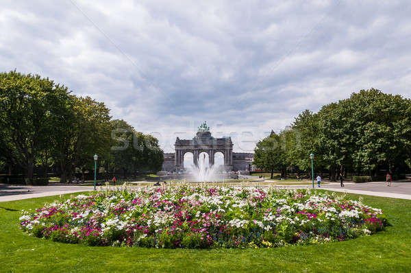 The Triumphal Arch in Cinquantenaire Parc in Brussels, Belgium w Stock photo © anmalkov
