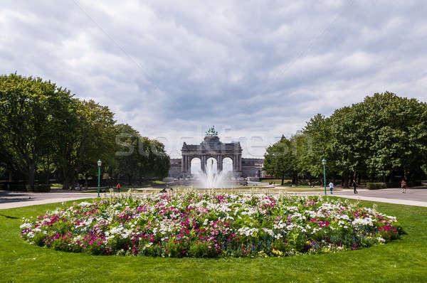 Arco Bruselas Bélgica flores verano cielo Foto stock © anmalkov