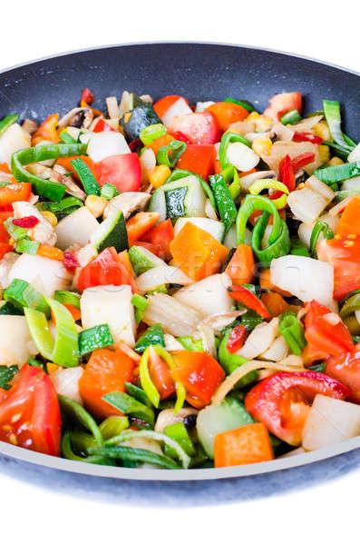 Legumes panela isolado branco café da manhã Foto stock © anmalkov