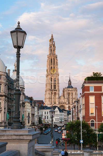 Catedral senhora rua Bélgica ver céu Foto stock © anmalkov