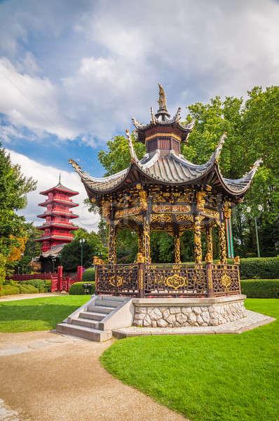 Kínai kert ház torony Brüsszel Belgium Stock fotó © anmalkov