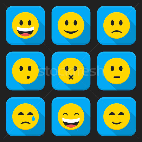 Stock photo: Yellow smiling faces squared app icon set