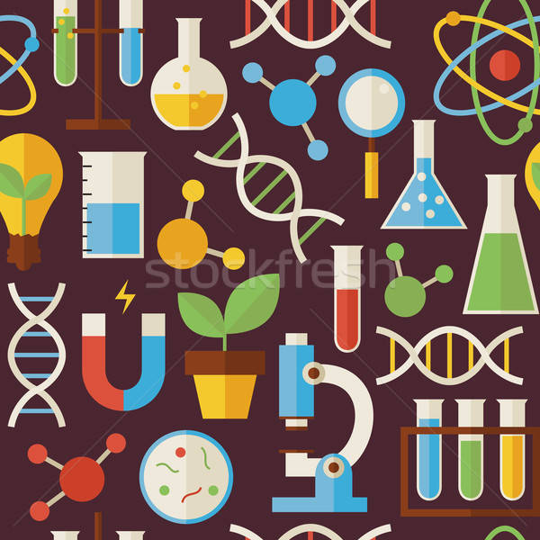 Flat Seamless Pattern Education Science and Research Objects ove Stock photo © Anna_leni