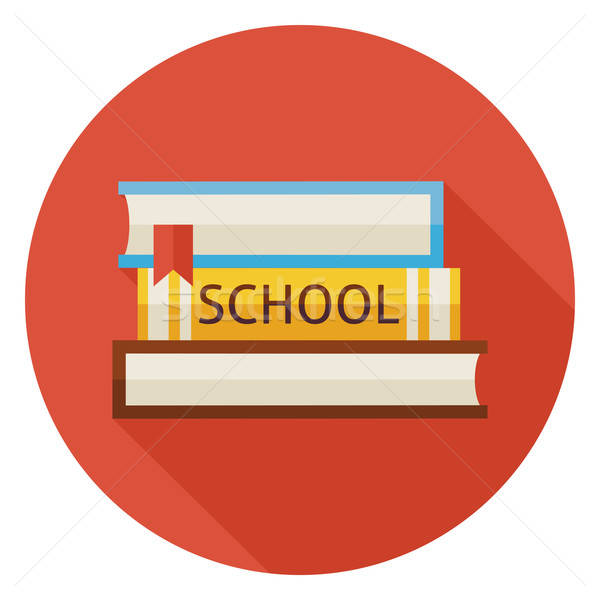 Flat Back to School Books with Bookmark Circle Icon with Long Sh Stock photo © Anna_leni
