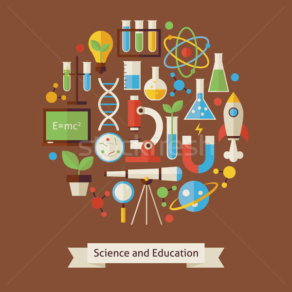 Vecteur style éducation science objets design Photo stock © Anna_leni