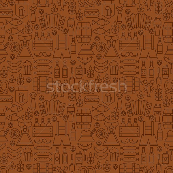 Thin Alcohol Beer Line Oktoberfest Seamless Brown Pattern Stock photo © Anna_leni