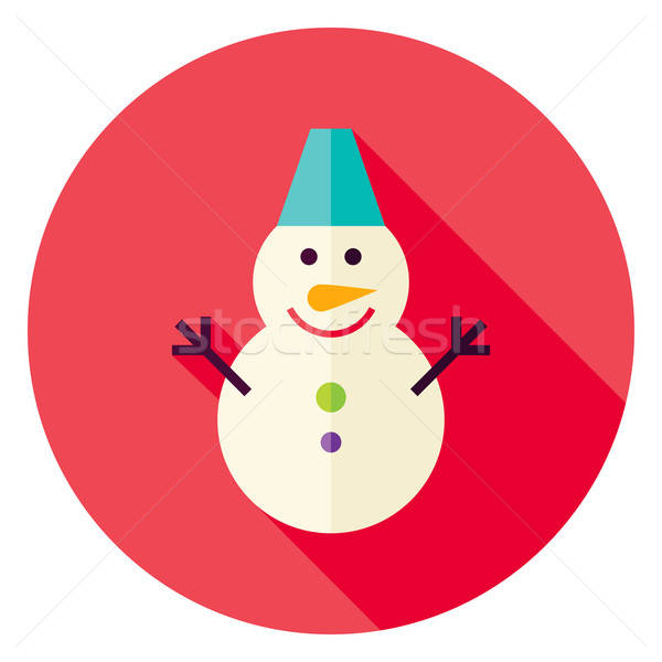 Flat Design Snowman Circle Icon Stock photo © Anna_leni