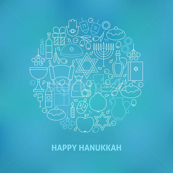 Thin Line Jewish Happy Hanukkah Holiday Icons Set Circle Shaped  Stock photo © Anna_leni