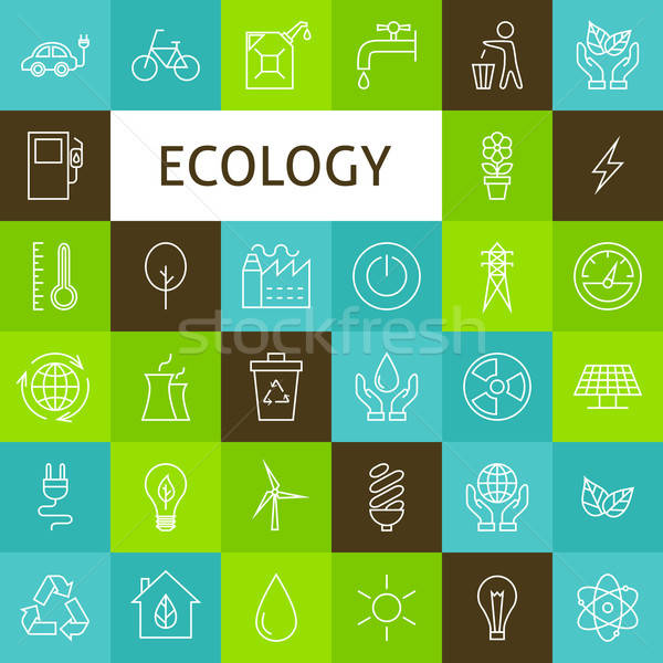 Vector Line Art Ecology Green Power Icons Set Stock photo © Anna_leni