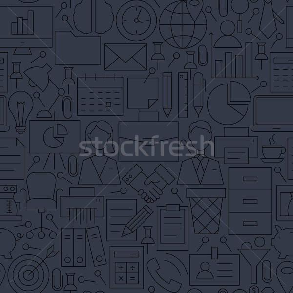 Thin Line Dark Grey Office Business Seamless Pattern Stock photo © Anna_leni