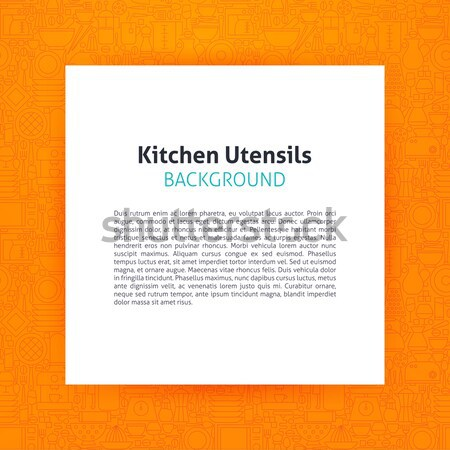 Paper over Kitchen Utensils and Cooking Line Art Background Stock photo © Anna_leni