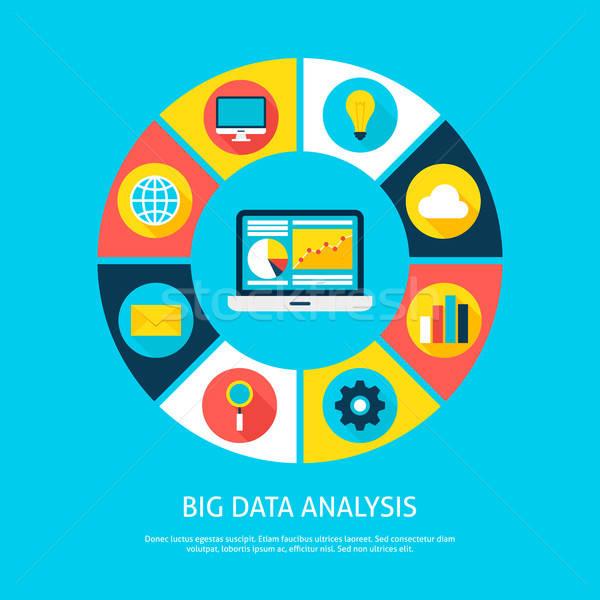 Büyük veri analiz veritabanı infographics Stok fotoğraf © Anna_leni